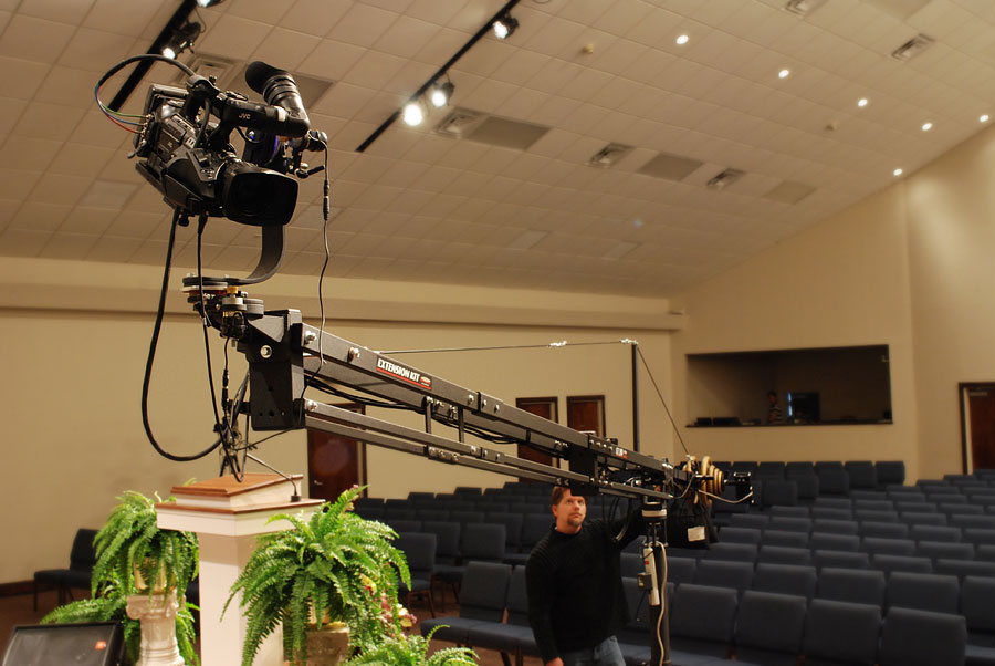 Kevin testing the 20 foot Camera Jib